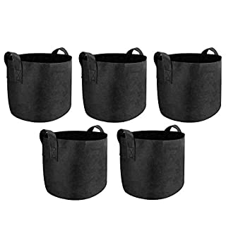 Maison & White Plant Grow Bags | Breathable Nonwoven Fabric Soft Sided Aerating Growing Pots | Garden Potato Fruit Vegetable & Flower Planter Bags | M&W (5 Gallon)