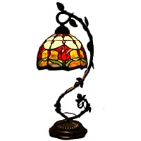 Tiffany Lamp Tulip Flower Stained Glass and Baroque Style Table Lamps Wide 8 Inch Height 22 Inch For Living Room Antique Desk Beside Bedroom Set S030 WERFACTORY