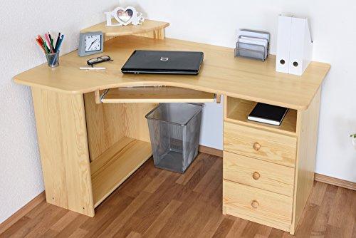 Schreibtisch Kiefer massiv Vollholz natur Junco 186 - Abmessung 75 x 138 x 83 cm