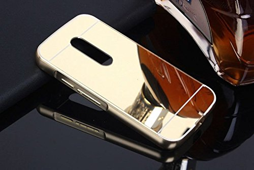 iSAVE New Luxury Metal Bumper Acrylic Mirror Back Cover Case For Moto G Plus 4th Gen ( G4 Plus / G 4th Generation ) - MIRROR GOLD