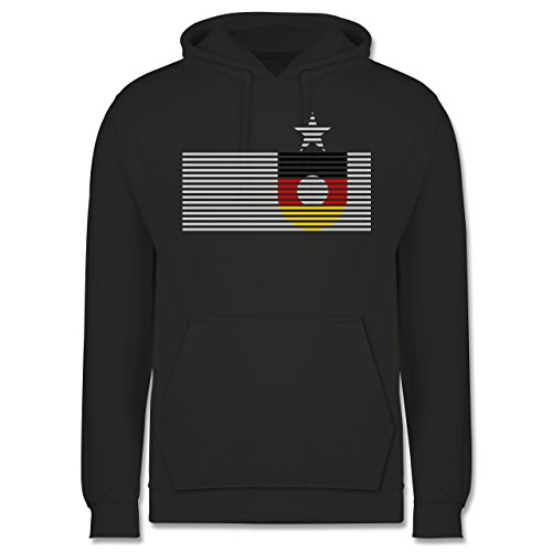 EM 2016 - Frankreich - Deutschland Streifen - Männer Premium Kapuzenpullover / Hoodie Dunkelgrau