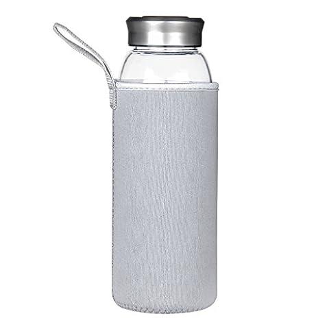 Justfwater Bouteille d'eau en Verre Borosilicate 1000 ml / 1
