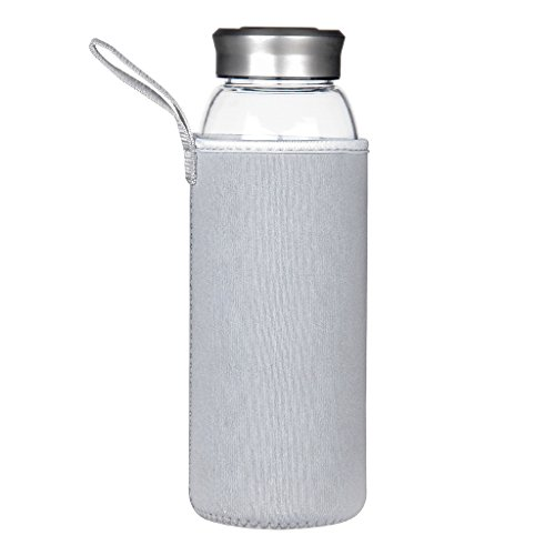 Justfwater Trinkflasche aus Glas 1000 ml / 1 L
