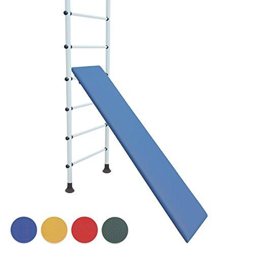 NiroSport Schrägbrett für Sprossenwand, Schrägbank, Holz, gepolstert, Kunstlederbezug, 160 x 35 cm, belastbar bis 130 kg, Blau