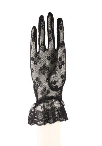 (Spitze Handschuhe mit Handgelenk Rüsche–Weiß, Pfirsich, elfenbeinfarben, Schwarz, Rot Gr. Einheitsgröße, Schwarz - Black Lace)