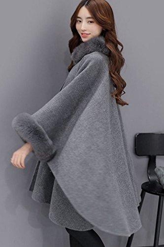 Le Donne Inglesi Stile Finto Peloso Tunica Inverno Impermeabile Mantello Outwear Grey