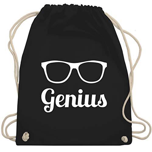 Nerds & Geeks - Genius Schrift mit Brille - weiß - Unisize - Schwarz - WM110 - Turnbeutel & Gym Bag