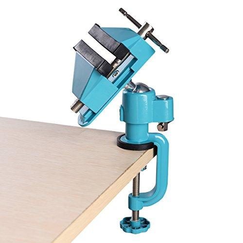 DREAMADE Tischschraubstock, Mini Tisch Schraubstock, 360° drehbar Aluminiumlegierung, Feinmechaniker Schraubstock