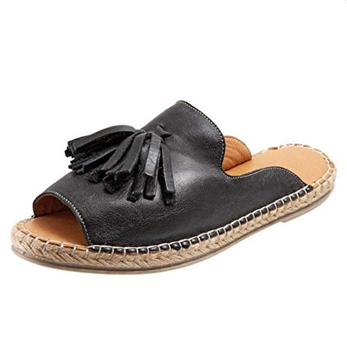 Sommerschuhe für Damen,Dorical Frauen Vintage Roman Sandaletten mit Quaste,Slip On Peep Toe Slipper,Flach Pantoffeln,Casual Hausschuhe Damenschuhe,Rutschfest 35-43 EU Ausverkauf(Schwarz,39EU)