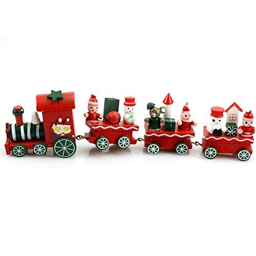 Mini tren lindo de madera de Papá Noel, para Navidad, de RUIIO, adorno para decoración del árbol de Navidad, regalo para niños, juguete