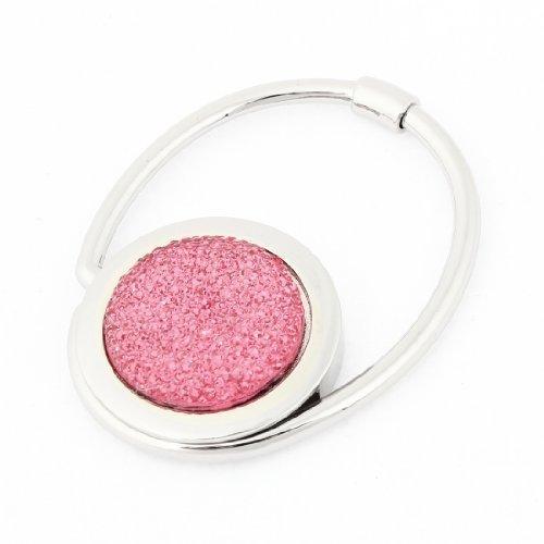 sourcingmap® Pieghevole, decorata con cristalli, gancio per borsetta, colore: rosa, donna