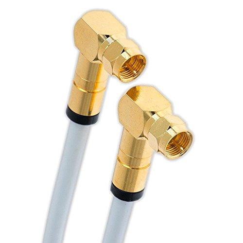 3m Satkabel 135 dB F Winkelstecker 90° F-Stecker Vergoldet Digital Koaxial Sat Kabel HD 3D 4K 75 Ohm Class A+ (3m, Weiß - 2X 90°)