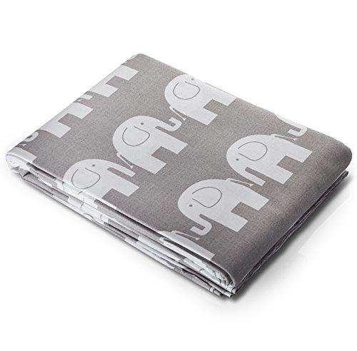 3 metri di tessuto di qualità in cotone 100% - elefanti bianchi su grigio 300cm x 160cm - dimensioni di ogni elefante - 7cm circa