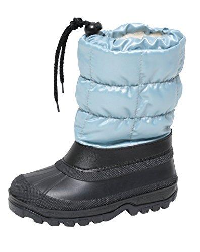 Zapato Kinder Schneestiefel Snowboot Winterstiefel Stiefel Gr.29-36 Warm Wasserdicht Gummi Galosche Wollfutter Alu Isolierung Hellblau Schwarz (33/34)