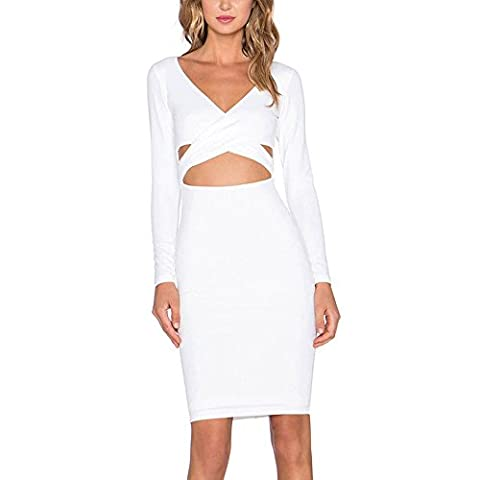 HLBandage Women Long Sleeve Deep V Neck Cross Hole Bandage Dress(XS,Blanc)
