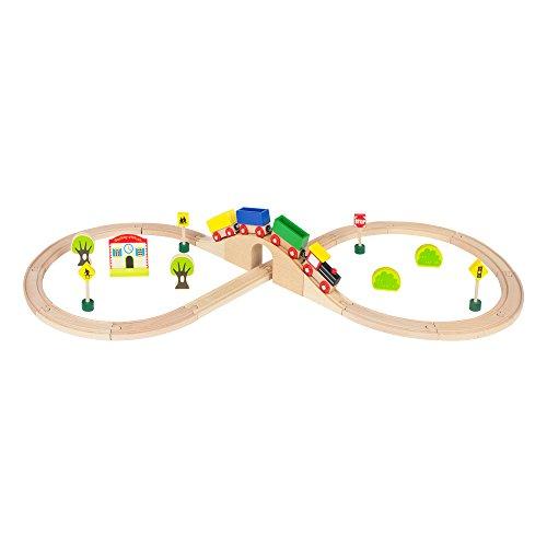 ColorBaby - Tren de madera Mercancías & vías - 30 piezas