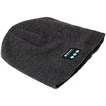 SODIAL(R)Bluetooth Sombreros de la gorrita tejida de Musica Gorra calida suave con Estereo Auricular Audifonos altavoz & microfonos Manos libres inalambricos Gris oscuro