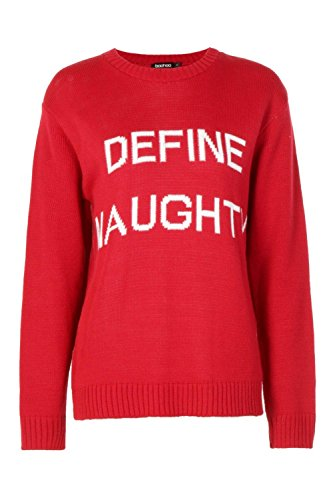 rouge Femmes Lily Define Naughty Christmas Jumper Rouge