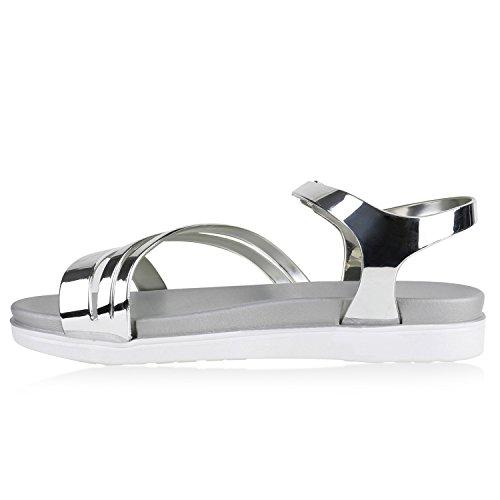 Damen Sandalen Metallic Lack Flats Riemchensandalen Schuhe Silber