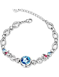 Yellow Chimes Crystals from Swarovski Double Rose Proposal Crystal Bracelet for Women and Girls
