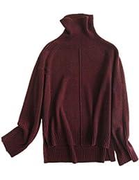 Wenwenma Suéter de Cachemira para Mujer - Moda Irregular Suéter de Cuello  Alto 860932777bbf