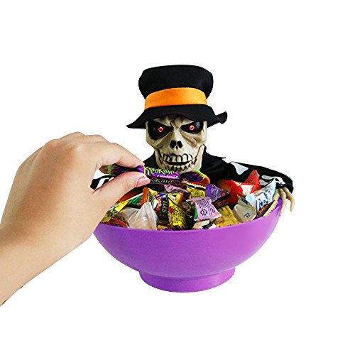 Halloween Süßigkeiten Schüssel mit schrecklichen Schrei und Bewegung, BAFFECT® Halloween Süßigkeit Korb mit Induktion und Sound Electric Skeleton Candy Bowl für Halloween Party Dekoration (Violett) (Halloween-korb)
