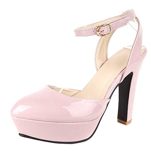 AIYOUMEI Damen Lack Knöchelriemchen Plateau Slingback Pumps mit 12cm Absatz  und Schnalle Blockabsatz Elegant Schuhe Rosa
