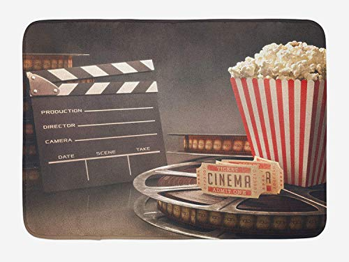 Movie Theater Bath Mat, Old Fashion Entertainment Objects Related to Cinema Film Reel Motion Picture, Plush Bathroom Decor Mat with Non Slip Backing, 23.6 x 15.7 Inches, Multicolor
