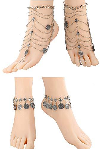 Finrezio 4 Stück Schmuck Fußkette Indisch Vintage Böhmischen Münze Quaste Fußkettchen