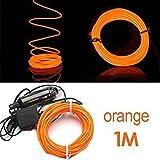 TOOGOO (R) 1M flessibile di EL Wire Neon del partito della luce dell'automobile LED del tubo della fune + 12V Inverter - Arancione