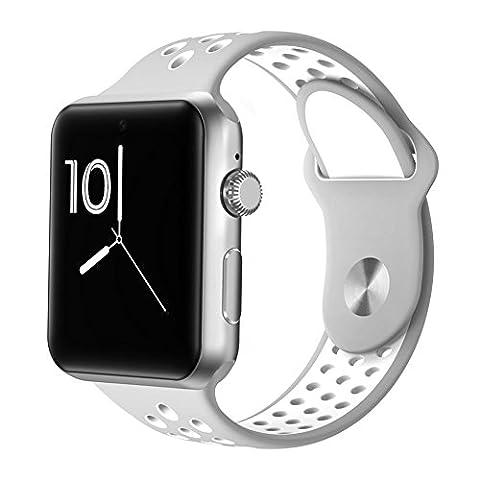 Joyeer Smart Watch Hollow Strap Phone Watch avec carte SIM Dial Call Message Push Podomètre Rappel sédentaire Sleep Monitor Caméra à distance Multiple UI Smartband pour Android IOS , gray white