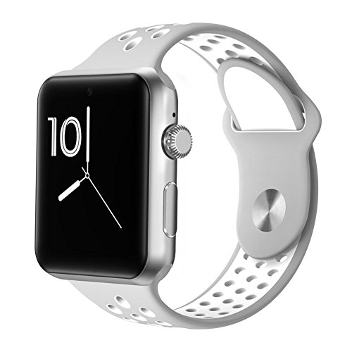 Joyeer Smart Watch Hollow Strap Telefonuhr mit SIM-Karte Dial Call Message Push Pedometer Sesshaft Erinnerung Schlaf Monitor Fernkamera Multiple UI Smartband für Android IOS , gray white
