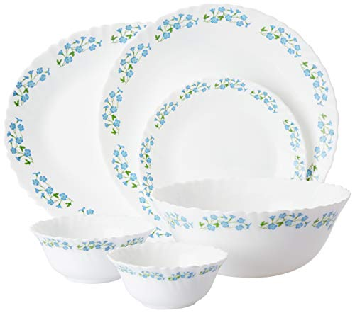 LaOpala Dew Dinner Set, 27-Pieces, White and Lavender