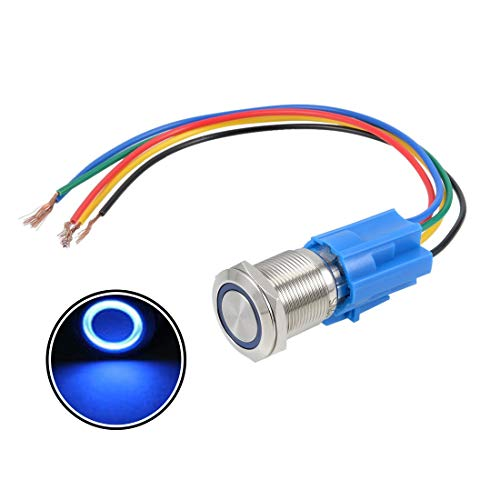 ZCHXD Latching Push Button Switch 19mm Mounting Dia SPDT 1NO 1NC 12V Blue LED Light w Socket Plug Wire -