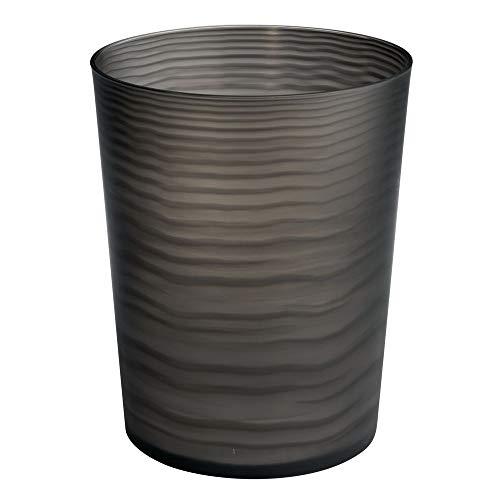 Mdesign cestino spazzatura in plastica – elegante gettacarte per il bagno, l'ufficio o la cameretta – pattumiera per carta e anche per raccolta differenziata – nero