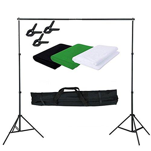 SAILUN Profi Fotostudio Set Hintergrundsystem Hintergrund 3 x 1,6m Hintergrundstoff (Weiß Grün Schwarz) Stativset Hintergrund Stoff Studioset