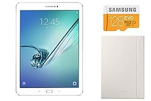"Samsung Galaxy Tab S2 Tablette tactile Ecran super AMOLED 9,7"" Blanc (RAM 3Go, SSD 32 Go, Wi-Fi) + Carte Micro SD 128 Go + Housse"