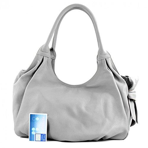 modamoda de �?borsa in pelle da donna borsa a mano borsa a tracolla borsa donna pelle nappa IT28 Grigio (grigio)