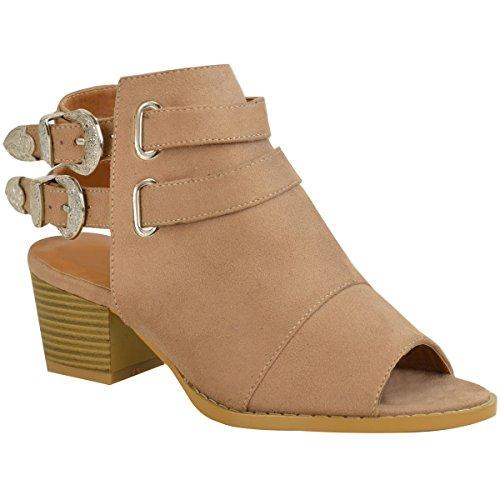 Sandales style bottines - à talons larges/à boucles/style cowboy - femme Faux suède marron foncé