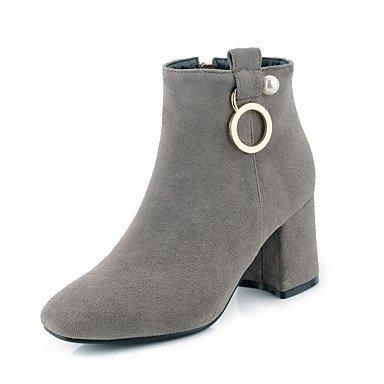 Rtry Femmes Chaussures Flocage Automne Hiver Mode Fluff Doublure Bottes Bottes Chunky Talon Bout Rond Genou Bottes Zipper Perle Pour Bureau & Amp; Us8 / Eu39 / Uk6 / Cn39