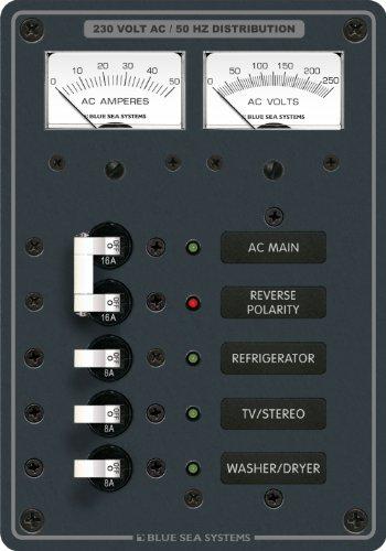 Blue Sea - 8509 Ac Main Branch A-Series Toggle Leistungsschalter-Panel (230V) - Hauptstraße 3 Position -