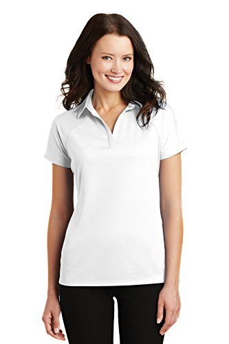 Port Authority Polo (Port Authority Women's Rmk Ladies Crossover Raglan Polo Azure Blue Training Shirts (Pack of 36), White, Medium)