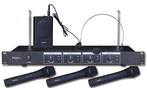 Ibiza VHF4 Quadruplo sistema microfonico wireless vhf, nero