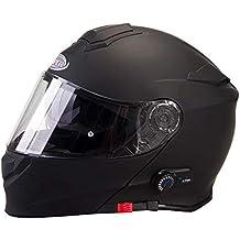 V171 MOTORRADHELM Viper BluetoothHelm Motorrad-Sturzhelm Klapphelm Touren Helm mit Sonnenblende Matt Schwarz