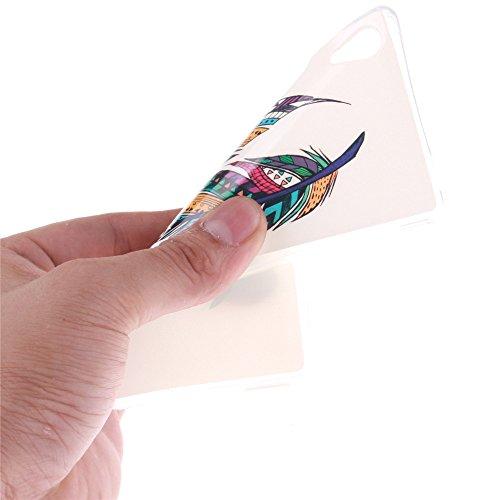 Sony Xperia M4 hülle MCHSHOP Ultra Slim Skin Gel TPU hülle weiche weiche Silicone Silikon Schutzhülle Case für Sony Xperia M4 - 1 Kostenlose Stylus (Löwenzahn sich verlieben (Dandelions Fall in Love)) Tribal Aztec Feder (Tribal Aztec Feather)