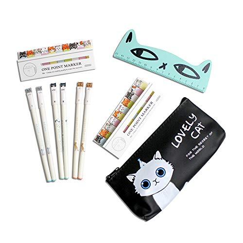 Gato lindo papelería para niñas, estuche de lápices negros y regla de madera kawaii para gatos, notas adhesivas, juegos de regalo estacionarios, suministros escolares para niños