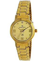 Maxima Analog Gold Dial Women's Watch - 01598CMLY