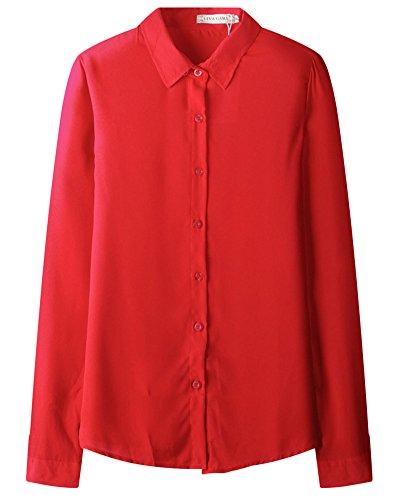 Femmes Mode Revers Manches Longues En Mousseline De Soie Tops Chemise Chemisier Rouge
