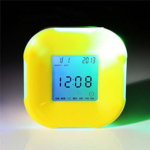 Bluelover Multifunzione 4 Lati Cambiare Sveglia Orologio Calendario Timer Temperatura Ruota Led Digitale