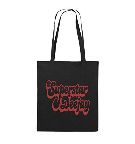 Comedy Bags - Superstar Deejay - Jutebeutel - lange Henkel - 38x42cm - Farbe: Schwarz / Silber Schwarz / Rot